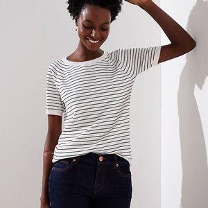 LOFT Short-Sleeve Striped Sweater Tee